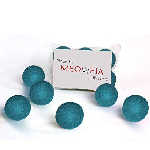 MEOWFIA Wool Ball Toys – 6-Pack of Safe for Cats and Small Dogs Balls – 1.5 Inch Felted Wool Cat Toy and Dog Toy – Perfect with Cat Cave – Silent – Mini Tennis Balls – 6-Pack