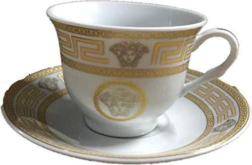 Inspired By Versache Greekk Key 12 Piece Porcelain Espresso Cup & Saucer- Service for 6 Person Gift Boxed-White/Gold