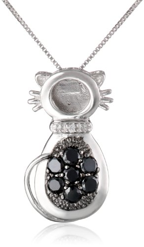 Sterling Silver Black and White Cubic Zirconia Cat Pendant Necklace, 18