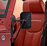 Esright Rectangular Adventure Mirrors Side View Shake-proof Door Hinge Bolt-on Mirror for All Jeep Wrangler JK(07-17), 1 Pair (Textured Black)