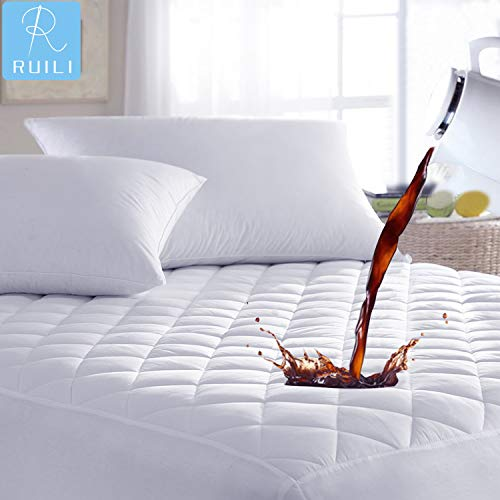 Ruili Queen Quilted Fitted Mattress Pad, 100% Waterproof Hypoallergenic Mattress Cover Stretches up to 16 Inches Deep Pocket Hollow Cotton Alternative Filling - Mattress Topper Vinyl Free