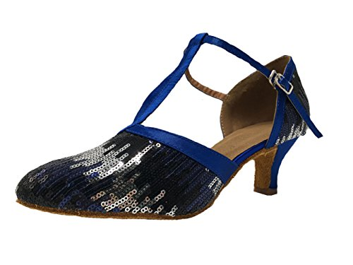Toe Closed Dance Latin Glitter Blue Dance Shoes Strap Sequin Mary T Womens Jane Honeystore UqwHH