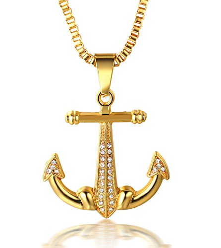 Halukakah ● SAIL ● Men's 18k Real Gold Plated Anchor Pendant Artificial Diamond Set Necklace with Free Rope Chain 30