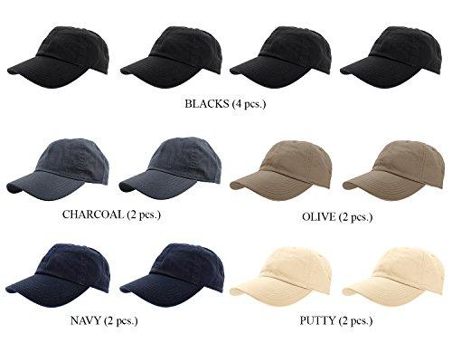 Gelante Baseball Caps 100% Cotton Plain Blank Adjustable Size Wholesale Lot 1800-AST04-12PC ()