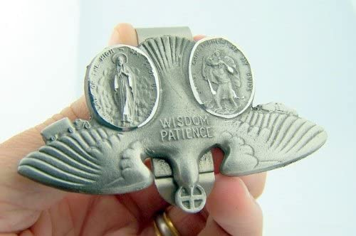 WJH Pewter Saint Christopher and Our Lady of The Highway Holy Spirit Dove Visor Clip 3 Inch