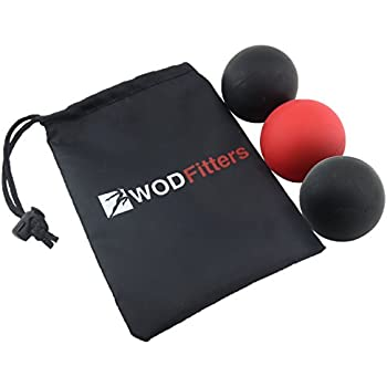 WODFitters Mobility Lacrosse Balls - Used as a Roller for Back, Foot, Quads - Set of 3 Massage Balls for Trigger Point and Myofascial Release