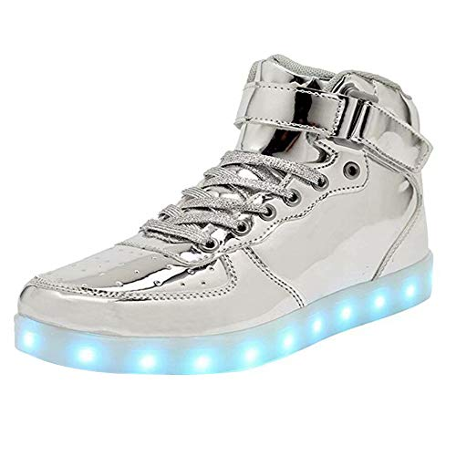High Top LED Light Up Shoes USB Charging Sneakers For Men Women-43(silver)]()