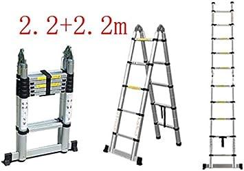 LJA Escalera Plegable, 1,6 + 1,6 M de Expansión Telescópica Escalera, Aleación de Aluminio de Múltiples Funciones de Ingeniería Escalera Plegable, En131 Estándar, la Capacidad de Carga 150Kg,2,2 + 2,: Amazon.es: Bricolaje y herramientas