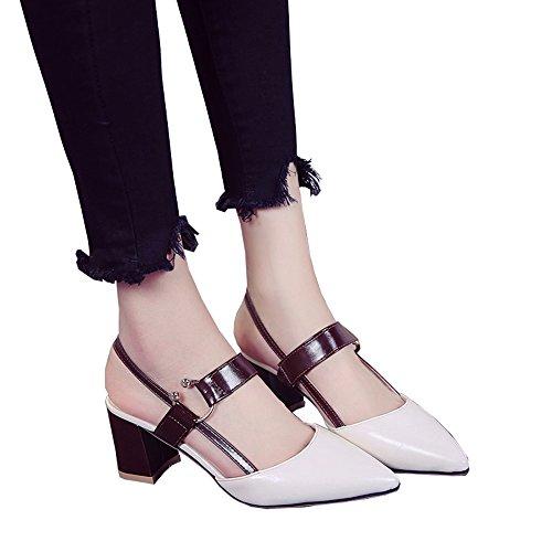 moyens chaussures taille 37 crémeuse mot white7cm blanc des rétro avec avec épais Creamy pointe simple Sandales talons white7cm à Creamy Couleur baotou été 7cm fée de xw7vgqnTBg
