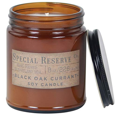 Special Reserve Candles Black Oak Currant Scented Soy Wax Candle - Rustic Amber Jar with Lid - 8 oz.