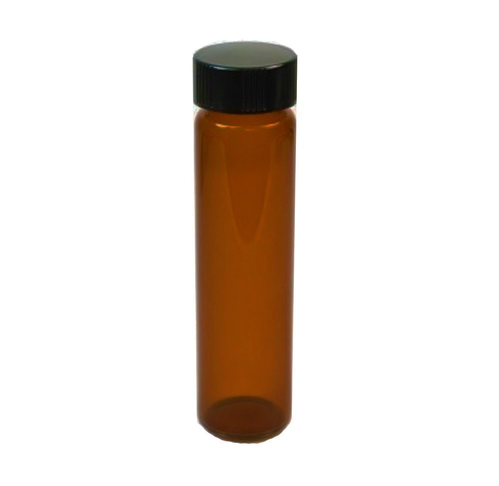 6-Pack of 3.75'' inch / 8 Dram / 1 oz / 30 mL Amber Glass UV Resistant Sample Storage Cosmetic Herb Spice Specimen Container Vial w/Black Phenolic Screw on Caps by Secret for Longevity