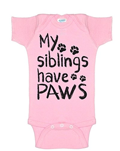 My Siblings Have Paws Cute Siblings Funny Infant Baby Novelty One Piece Cute Bodysuit Light Pink New Born (Replica One Piece)