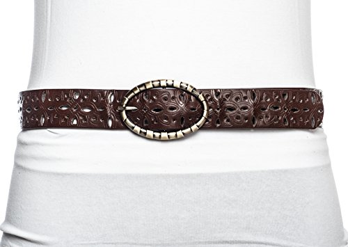 Sunny Belt Women's Abstract Cutout Motif Faux Leather Belt Brown Small