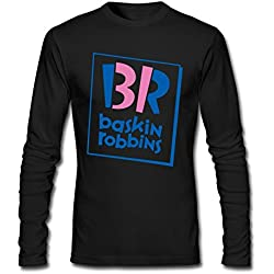Newm Men's Baskin-Robbins Logo Long Sleeve 100% Cotton T Shirt