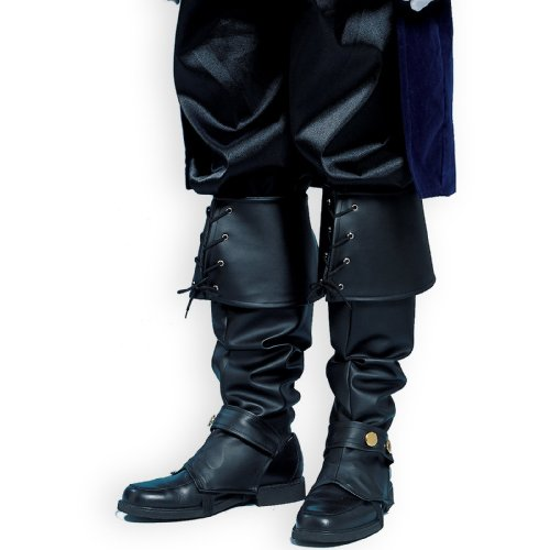 [Deluxe Adult Boot Tops in Black] (Black Men Halloween Costume)