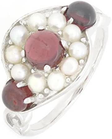 Sterling Silver Natural Garnet and Pearl Ring