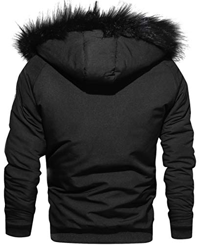FGYYG Men's Fashion Hooded Baseball Jacket Winter Casual Warm Thicken Parka Coat Filled with 100% Microfiber Polyester is Ideal for Feather Sensitive People Black
