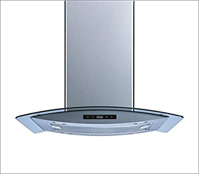 "Winflo 36"" Island Stainless Steel/Arched Tempered Glass Ducted/Ductless Kitchen Range Hood with 450 CFM Air Flow LED Display Touch Control Included Dishwasher-Safe Aluminum Filter and 4x2W LED Lights"