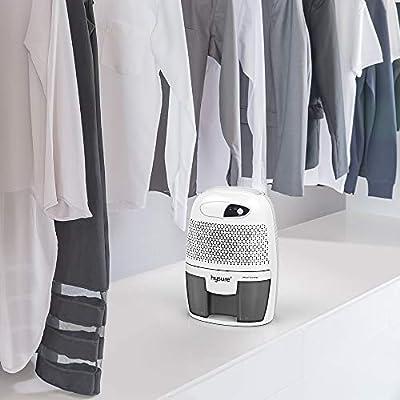 .com - Hysure Household Portable Dehumidifier, 1400 Cubic Feet (150 sq ft), Compact Portable Damp Air Mold Moisture in Home Kitchen Bedroom Basement Caravan Office Garage (500ml) (Grey) -