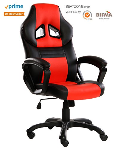 SEATZONE Swivel Office Chair, Racing Car Style Bucket Seat Gaming Chair, Thick Seat Cushion High-back Leather Computer Desk Chair for Home, Office and E-sports Use, Red
