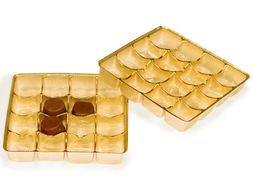 Pack Of 500, 5.5 X 5.5 X 1'' Medium Square Solid Gold Candy Trays W/16 Sections