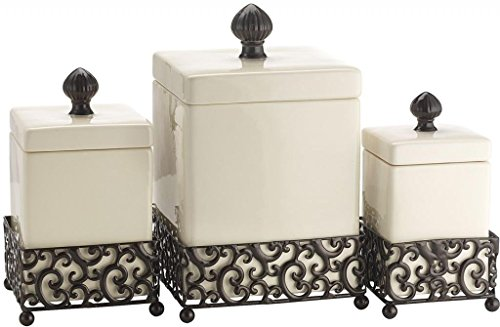 Attractive Set of Three (3) Square Ceramic Canisters on Scroll Designed Pressed Metal Base ~ Storage & Home Decor Set ()