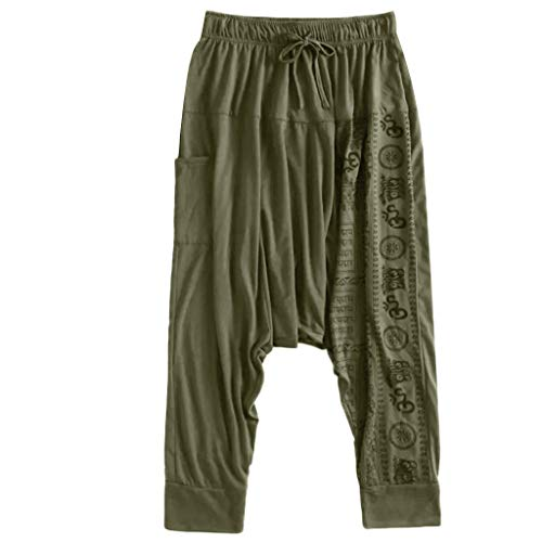 Harem Pants for Men with Pockets,SMALLE◕‿◕ Men Yoga Wide Leg Boho Hippie Comfy Drop Crotch Pants Plus Size Aladdin Pants Green