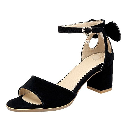 Mee Shoes Damen chunky heels Knöchelriemchen Nubukleder Sandalen Schwarz
