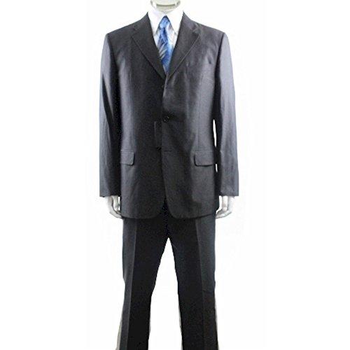 (Valentino Men's 3-Button 2-Back Vent Charcoal Cotton Suit Sz:44)