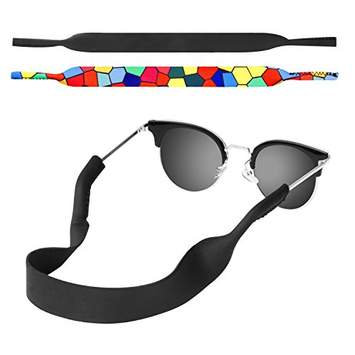 MoKo Neoprene Eyewear Retainer, [2 Pack] Universal Fit No Tail Sports Sunglasses Retainer, Sunglass Strap Safety Glasses Holder for Men, Women - Black & Stained -