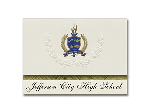 Signature Announcements Jefferson City High School (Jefferson City, MO) Graduation Announcements, Presidential style, Elite package of 25 with Gold & Blue Metallic Foil seal