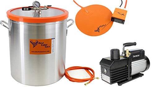 Best Value Vacs Ultimate Chamber Kit- 15 Gallon Aluminum Vacuum Degassing Chamber, VE280 9CFM Two Stage Vacuum Pump, 16