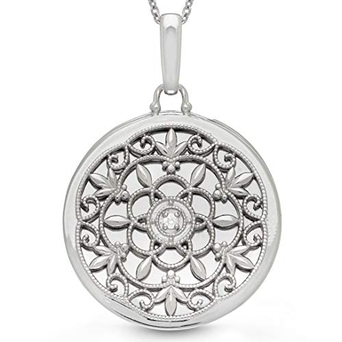 With You Lockets-Fine Sterling Silver-Custom Photo Locket Necklace-That Holds Pictures For Women-The Birdie