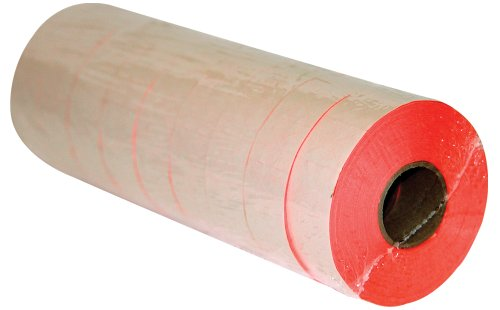 Contact Labels 6.22, 7.22, 8.22, Florescent Label Gun Labels with Security Cut, 9 Rolls Totaling 11000 Labels (2212 Red)