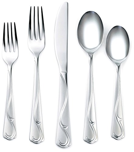 Corelle Coordinates Eloise Frost 20-Piece Flatware Silverware Set, Stainless Steel, Service for 4, Includes Forks/Spoons/Knives