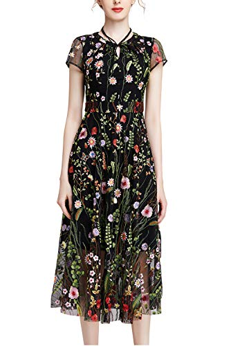 J.J PARTY Women's Round Neck Floral Embroidered Party Formal Dress Lace Mesh Double Layer Short Sleeve Maxi Dress Black