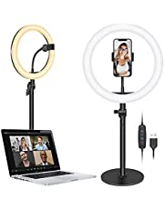 """Neewer Selfie Ring Light for Laptop Computer, 10"""" Dimmable Desktop LED Circle Light with Stand/Phone Holder/3 Light Modes for Video Conference/Webcam Chat/Makeup/Live Stream/Selfie (Black)"""