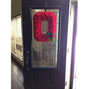 Official OSU Buckeye Wreath - Block O Ohio State Wreath made with Silk Carnations - KubuniFloral.com 3