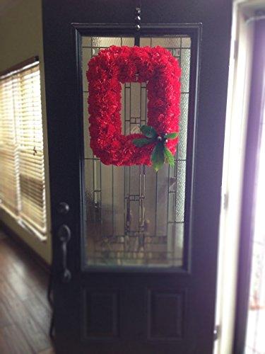 Official OSU Buckeye Wreath - Block O Ohio State Wreath made with Silk Carnations - KubuniFloral.com by Kubuni Floral