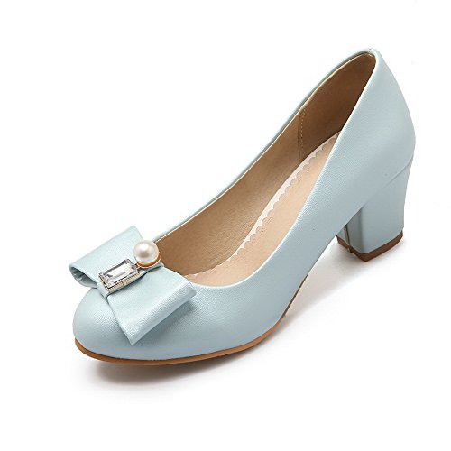 VogueZone009 Women's Soft Material Round Closed Toe Kitten-Heels Pull-On Solid Pumps-Shoes Blue BGMhJYK