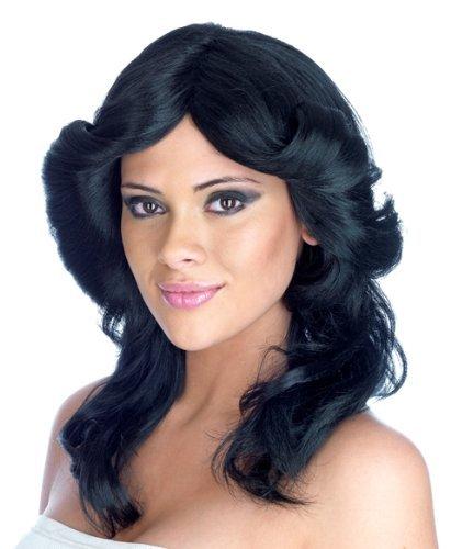[70s Farrah Fawcett Style Flick Fancy Dress Wig Black - One Size by Parties Unwrapped] (Farrah Fawcett Wig)