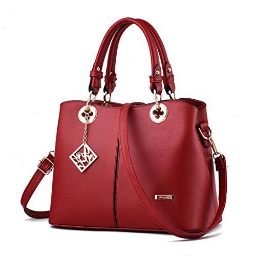 cuero Bolso la señora asas Rojo bolsa PU de 1 de hombro ZARU de la de bolso OF4nBAA
