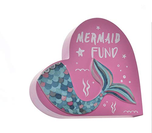 - Item Pink Wood Heart Shaped Mermaid Tail Coin Piggy Bank Room Decor, 6.10