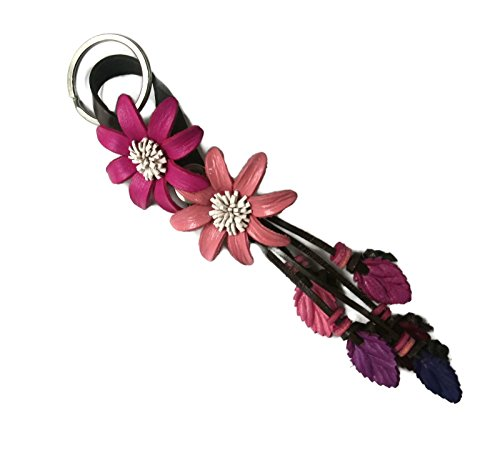 Bella Pazzo Maroon and Pink color Handmade SunFlowers Leather Keychain Key Ring Clasp Bag Charm Handbag Purse charm Car Key Pendant