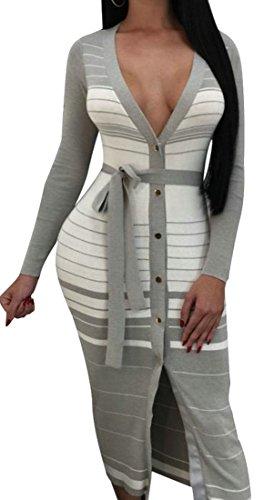 Sexy Deep Neck Dress Long Cromoncent Womens Sleeve Button Grey V Club Stripe 5XOTOwaWq
