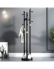 Wooden Coat Stand with 8 Hooks Stable Round Base Shelf, 2 in 1 Coat Rack Versatile Corner Coat Tree Storage Shelf Free Standing for Hallway Living Room Bedroom