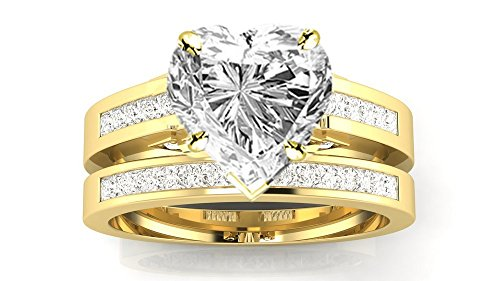 0.49 Ct Princess Shape - 1 Carat 14K Yellow Gold Channel Princess Cut GIA Certified Diamond Engagement Ring Bridal Set Heart Shape (0.49 Ct F Color SI1 Clarity Center Stone)