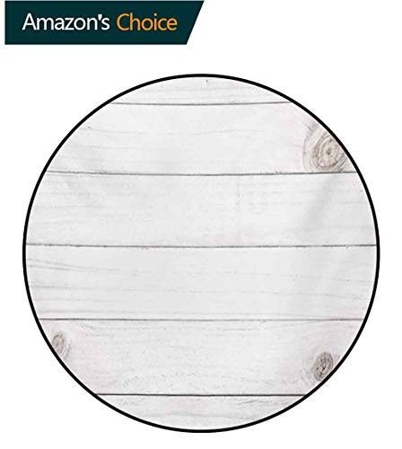 RUGSMAT Grey and White Super Soft Circle Rugs for Girls,Wooden Planks Horizontal Lines Rustic Timber Soft Tone Oak Background House Image Baby Room Decor Round Carpets,Diameter-35 Inch