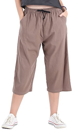 CandyHusky Womens Loose Elastic Waist Cotton Casual Capri Wide Leg Palazzo Pants (4XL, Light ()