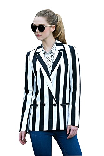 Moxeay Black and White Striped Blazer Jacket Halloween Beetlejuice Costume(XL) -
